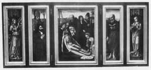 De H. Bavo met stichter (links), de bewening (midden), de H. Hieronymus of Petrus (?) (rechts); de annunciatie (buitenzijden luiken)
