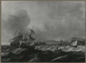 Engelse en Nederlandse schepen voor de kust