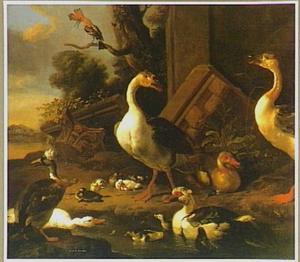 Ganzen, eenden en een hop in een landschap met ruïnes