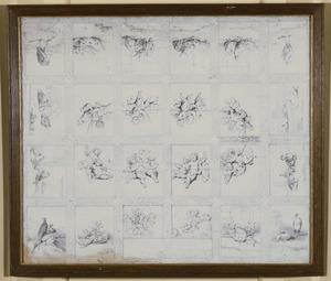 Plafondontwerp voor cassettenplafond met kring van putti omgeven door dieren