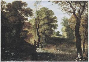 Boslandschap met eendenjagers