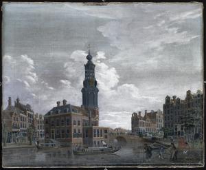 Gezicht op de Munttoren aan het Singel in Amsterdam
