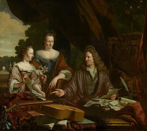 Portret van David de Neufville (1654-1729) en zijn familie