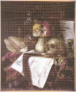Vanitasstilleven met schedel en vaas met bloemen