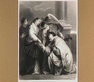 De zalige Hermann Joseph knielend voor de Maagd Maria