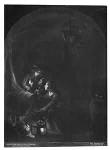 Voorraadkamer bij kaarslicht met een meisje dat wijn tapt uit een vat en een jongen die haar vermaant