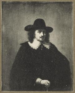 Portret van een man, ten halven lijve, met een wandelstok