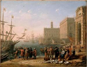 Fantasiegezicht met haven bij het Romeinse Capitool