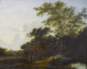Bebost landschap met pratende figuren voor een boerderij