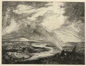 Panoramalandschap met rivierdal en regenbui
