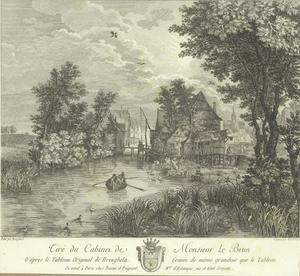 Rivierlandschap met dorp