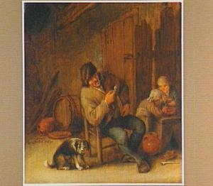 Interieur met een rokende boer, een hond  en twee kinderen