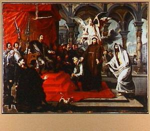 De H. Antonius van Padua bewijst de onschuld van Martín de Bullones aan moord door de overledene in de rechtzaal te Lissabon te laten getuigen, terwijl hij zelf ook te Padua bidt