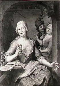 Een keukenmeid met een wijnglas in haar hand en een paar op de achtergrond