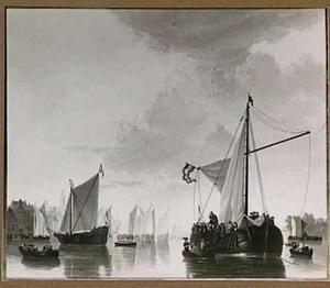 Schepen op de Maas bij Dordrecht