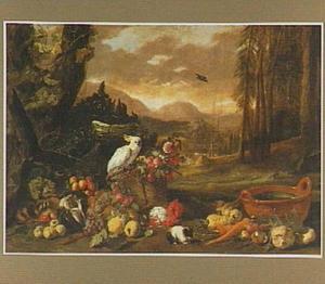 Stilleven van vruchten, groente, een kaketoe en een cavia in een landschap