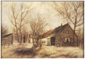 """Landschap met de boerderij """"Vol op"""" aan de Hoge Laarderweg te Hilversum"""