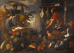 Markttafereel met groente- en gevogeltehandelaren
