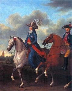 Ruiterportret van Wilhelmina van Pruisen (1751-1820) en Frederik van Oranje-Nassau (1774-1799)