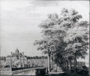 Gezicht in de tuin van Spieringshoek bij Schiedam met gezicht op het huis