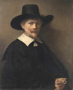 Portret van een man met handschoenen in de hand