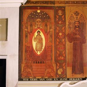 De moeder Gods op de troon van Salomo en vijf symbolen in de betrekking tot de schepping
