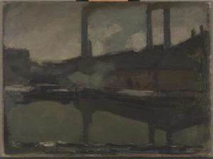 The royal wax candle factory, oil sketch