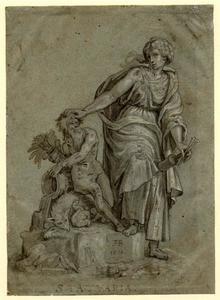 Allegorische vrouwelijke figuur de Beeldhouwkunst voorstellend