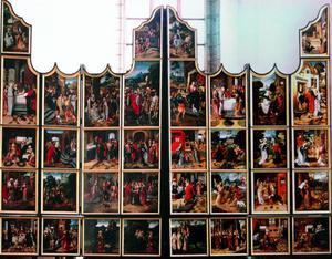 De legende van de H. Emerentia (predellaluiken); Het leven van Anna; het leven van Maria en de kindsheid van Christus (luiken)