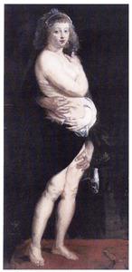 Portret van Hélène Fourment (1614-1673) met een bontmantel