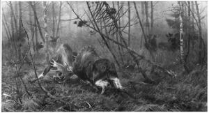 Boslandschap met twee vechtende elandstieren