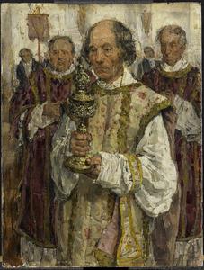 Processie in de oud-katholieke kerk te Den Haag met de met de priesters Cornelis Hendrikus van Vlooten (1828-1903), J. Verhey (1808-1890) en Theodorus van Vlooten (1821-1899)