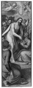 Christus geeft Petrus de sleutels van de hemelpoort (Triptiek van Pieter Damant) (op de buitenzijde in grisaille: de H. Petrus)