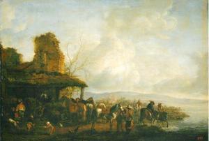 Ruiters en paarden bij een paardenstal