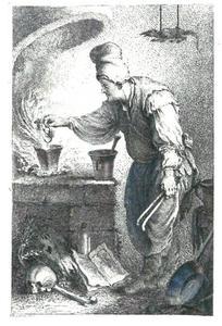 Een tovenaar, die een brouwsel makend