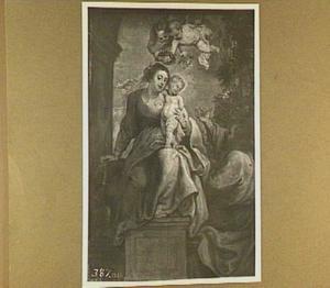 Jozef in aanbidding voor Maria en kind