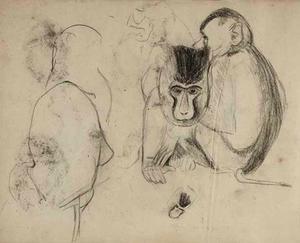 Schetsboekblad met schetsen van  apen