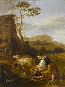 Zuidelijk landschap met  een boerin die een geit melkt