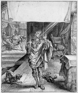 Jozef biddend tot God; op de achtergrond Jozef en de vrouw van Potifar (Genesis 39: 9 en12-13)