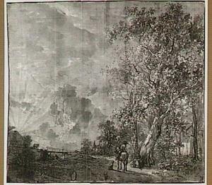 Landschap met figuren, bij ondergaande zon