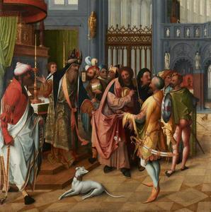 Jozef met de bloeiende staf bij het altaar (op de buitenzijde: de geboorte)