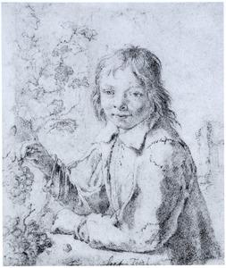 Jongeman met druiventros