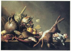 Stilleven met vruchten, vis en jachtbuit
