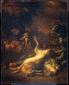 Een aap en een hond bij dood wild en vruchten
