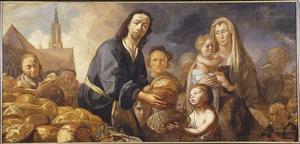 Portrait historié van een familie die brood uitdeelt aan de armen; op de achtergrond de Onze Lieve Vrouwekerk, Amersfoort