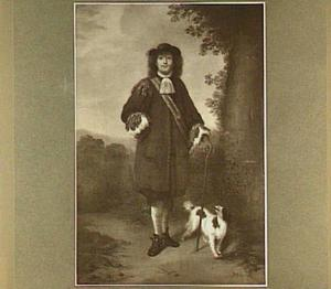 Portret van een man met een hondje in een landschap