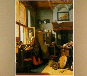 Een keuken met een schoolkind, een meid die wortelen