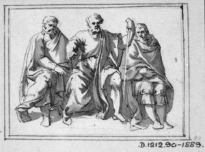 Drie zittende mannen