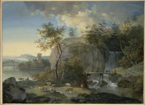 Landschap met waterval, brug en kudde