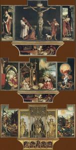 De H. Sebastiaan (links), de kruisiging met Johannes de Doper (midden; luiken in gesloten toestand), de H. Antonius Abt (rechts); De annunciatie (binnenzijde eerste linkerluik), musicerende engelen en Maria met kind (buitenzijde tweede paar luiken), de verrijzenis (binnenzijde eerste rechterluik); De HH. Paulus de Heremiet en Antonius Abt (binnenzijde tweede linkerluik), de HH. Augustinus, Antonius Abt en Hieronymus (gebeeldhouwd middendeel), de verzoeking van de H. Antonius (binnenzijde tweede rechterluik); De bewening (geschilderd deel van de predella), Christus en de twaalf apostelen (gebeeldhouwd deel van de predella)